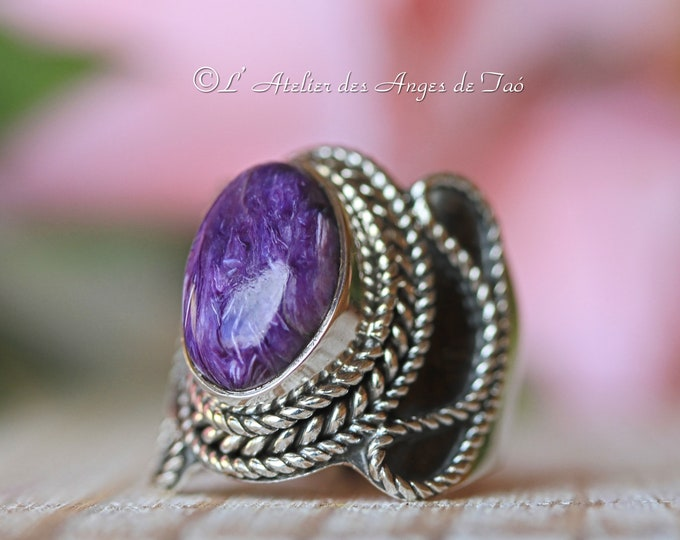 Charoite silver ring size 54 or US 7