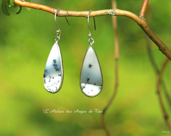 Agate earrings Dendrite merlinite earrings
