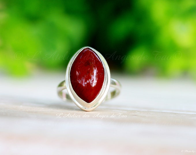 Silver silver ring red jasper size 55 or 7.5 US