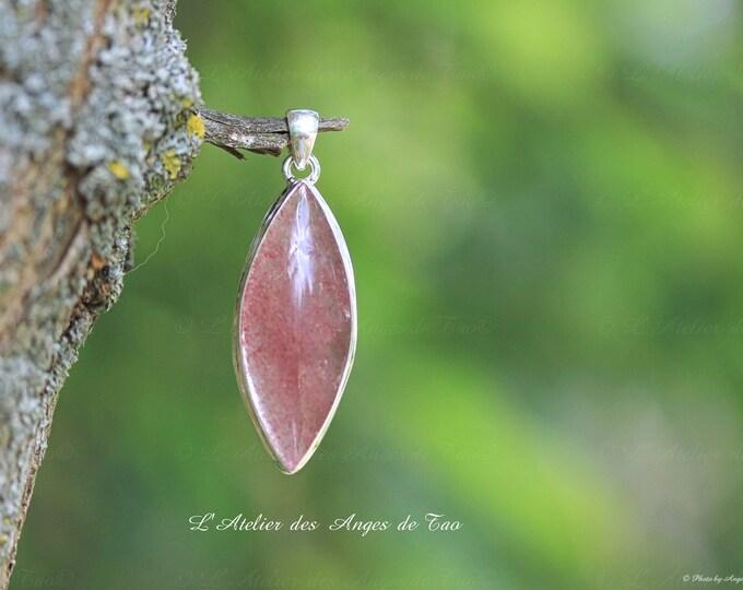Quartz strawberry silver pendant