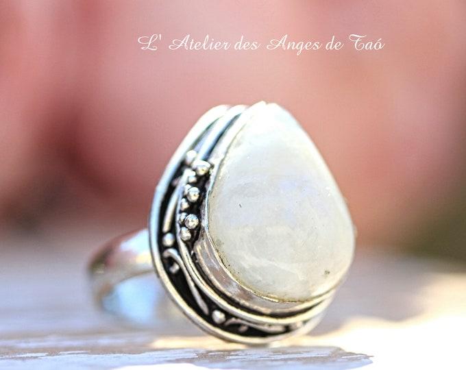 Bague pierre de lune, argent 925, Taille 54 ou 7 US