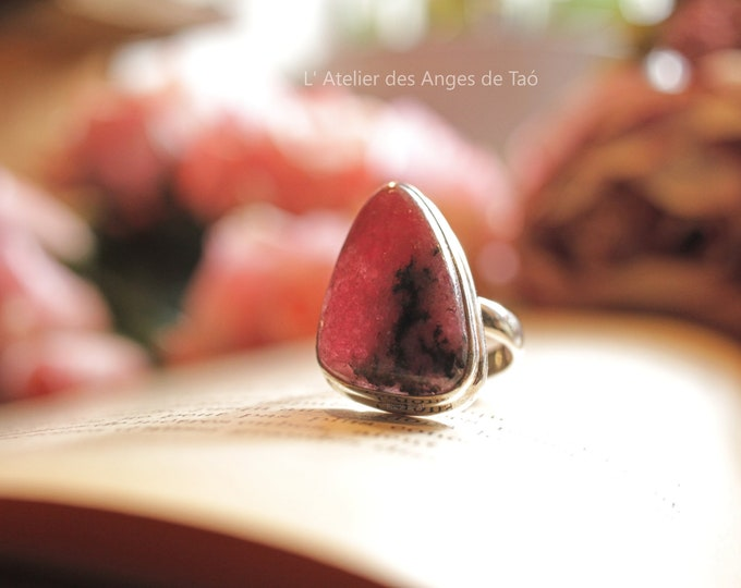 Voluptuous Rhodonite size 54 or US 7 ring