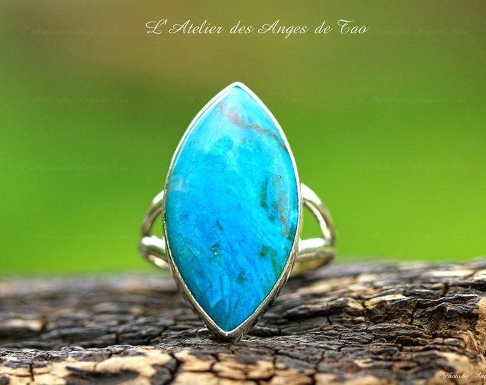 Silver Opal blue ring size 57 or 8 US