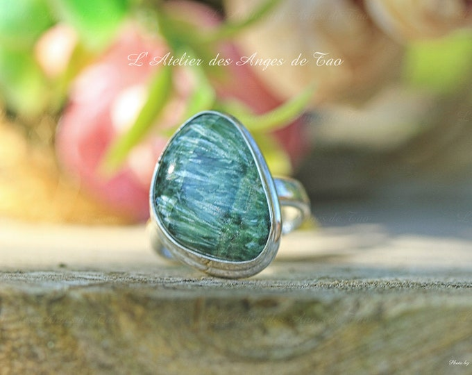 Seraphinite ring in silver size 52 or 6 US