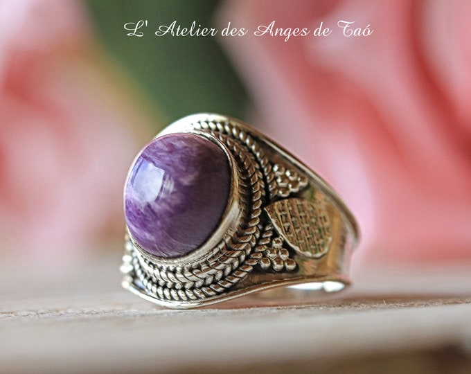 Magnificent ring Charoïte of Siberia, size 55 or 7.25 US, stone of spiritual elevation