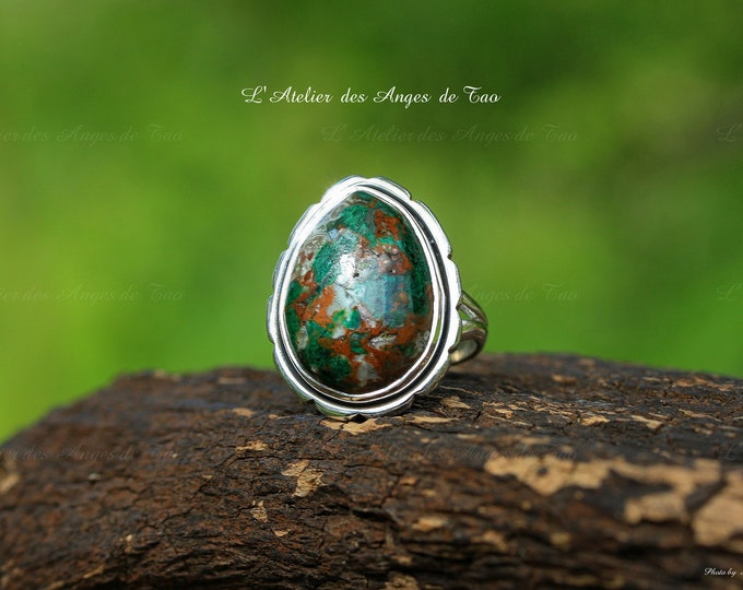 Shattuckite ring silver size 54 or US 7