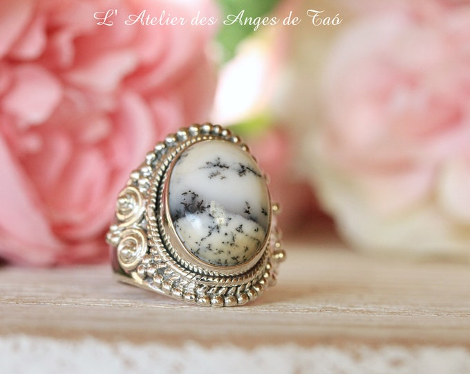 Dendritic agate ring size 55 or 7.5 US, luxury collection