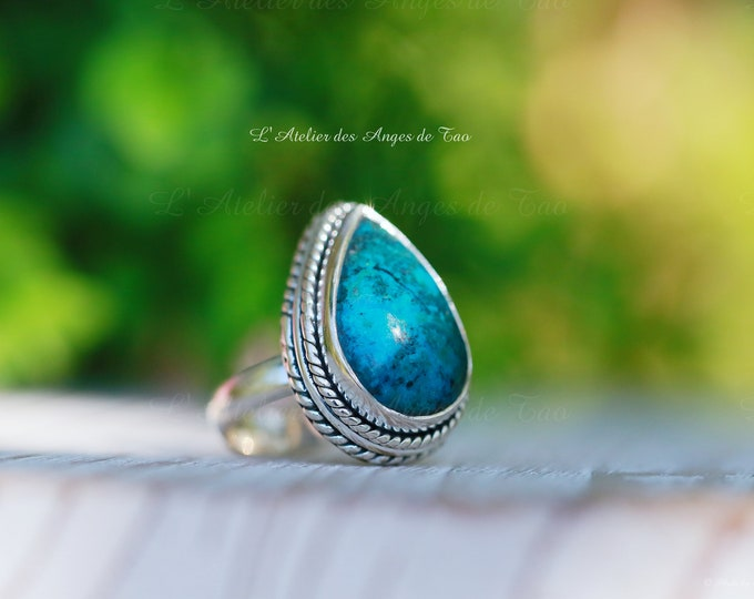 Ring Chrysocolle, Chrysocolla ringstone ,Size 54 or 7 US