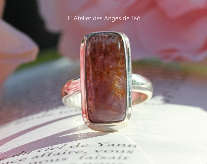 Bague cacoxenite taille 54 ou 7 US superseven ring melody stone auralite