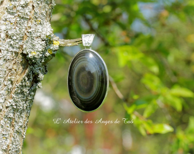 Pendentif Obsidienne Œil Céleste du Mexique
