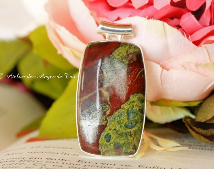 Dragon pierre de sang pendentif argent Dragon bloodstone jasper