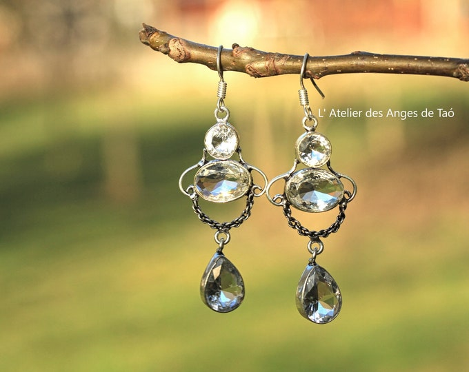 Elegant white Topaz Earrings, Luxe Collection