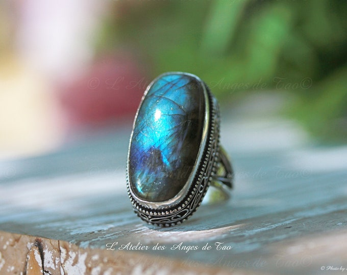 Exceptional Labradorite blue & silver ring 925, Size 56, powerful protective stone