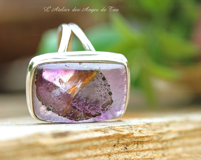 Auralite 23 ring, crystal auralite silver ring size 54 or 7 US