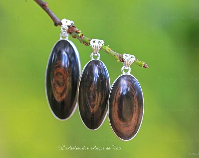 Obsidienne dorée Œil Céleste pendentifs en argent