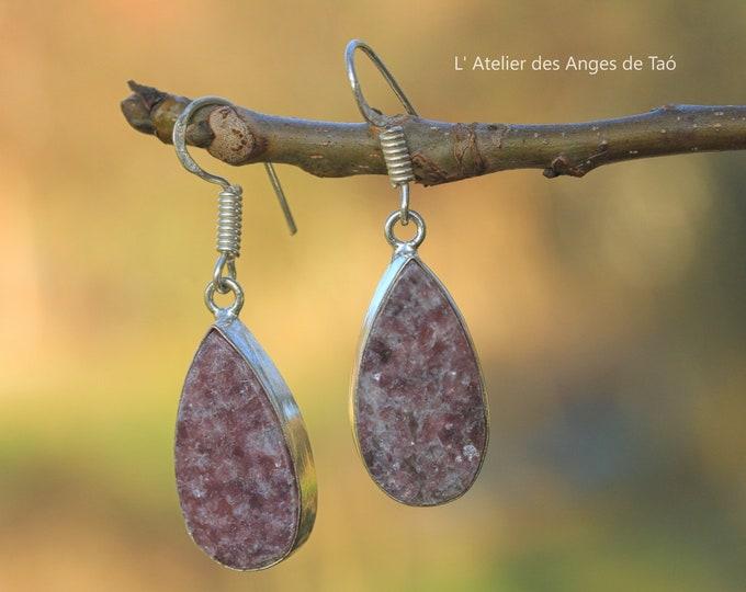 Silver earrings lepidolite, lepidolite earrings