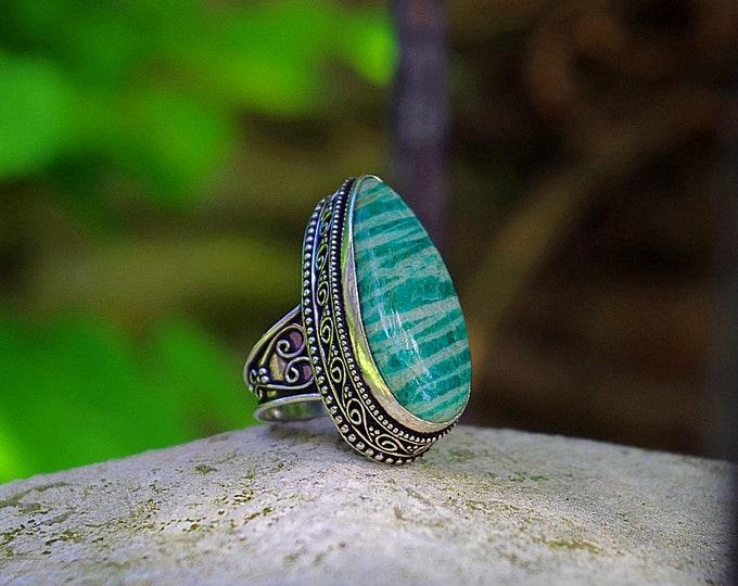 Amazonite ring size 55 or size US 7.5