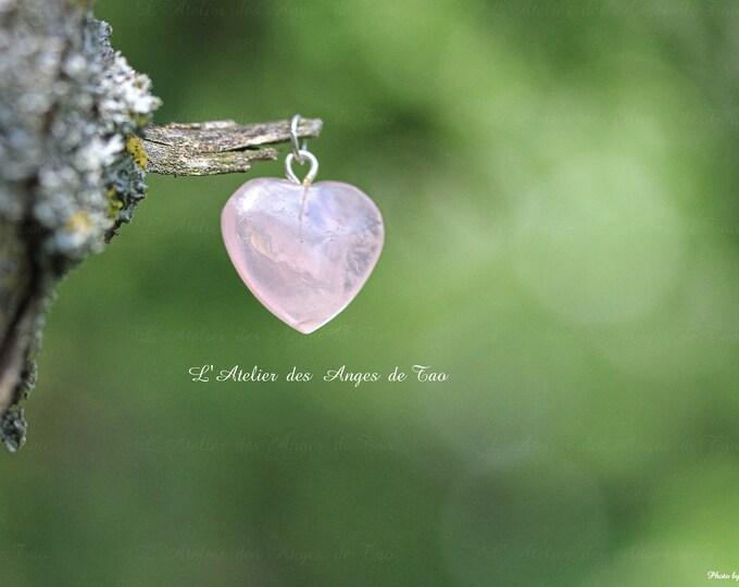 Cœur en quartz rose pendentif