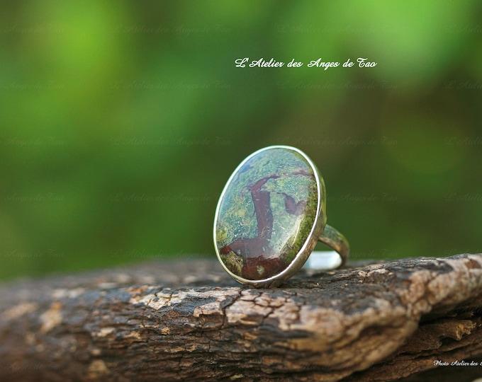 Bague dragon pierre de sang ovale taille 55 bloodstone ring size 7.5