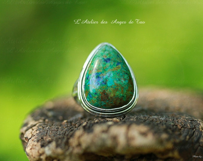 Azurite silver ring azurite ring size 56 or 7.75 US