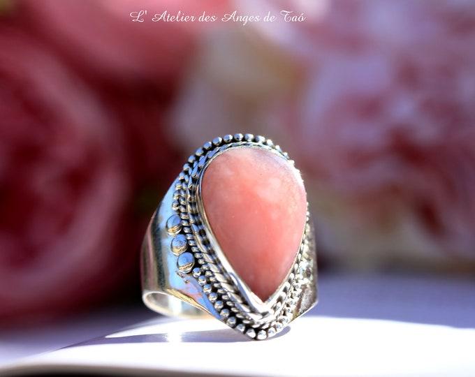 Opale rose bague argent pierre taille 57 ou US 8