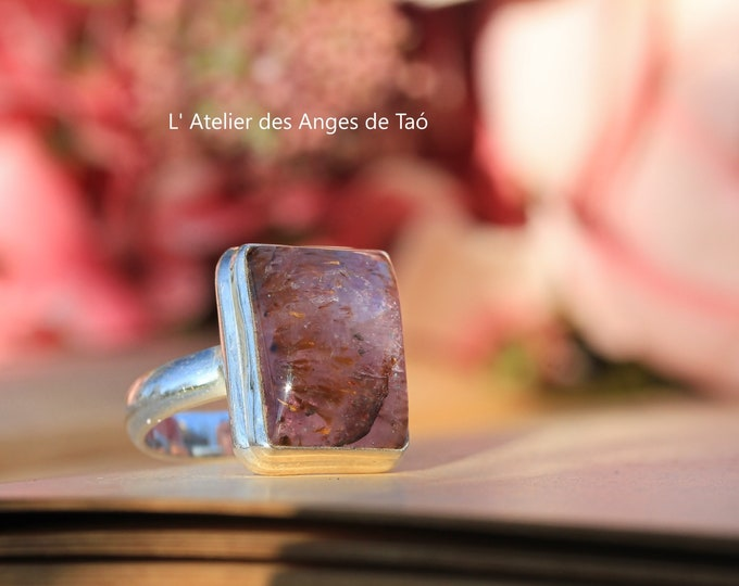 Cacoxenite Ring, Super Seven size 55 or 7 US