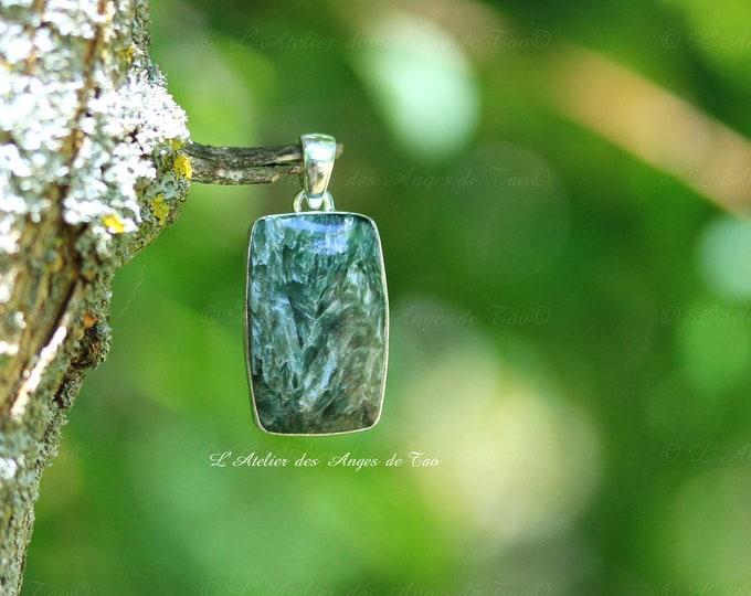 Jewel seraphinite silver pendant for stone Angels
