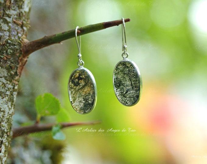 Boucles d'oreilles agate mousse moss agat earrings