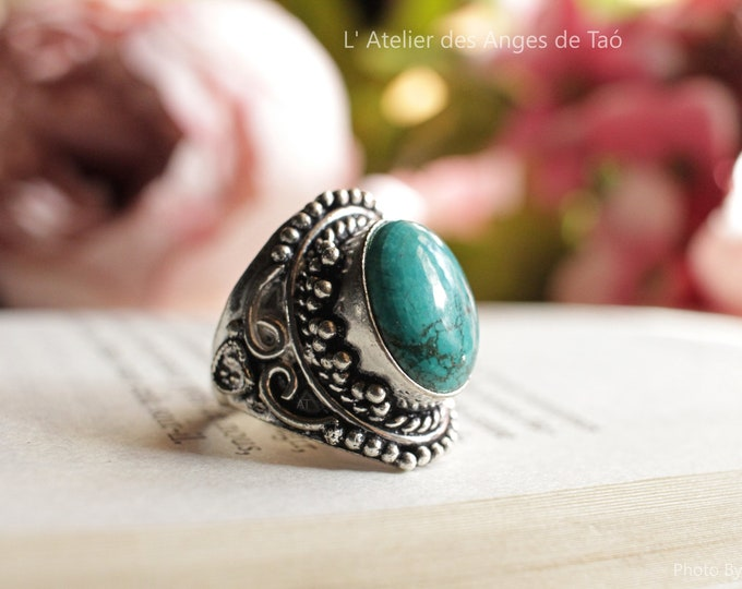 Turquoise 925 sterling silver ring size 55 or US 7.5