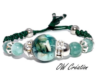 Bracelet quartz and jade beads