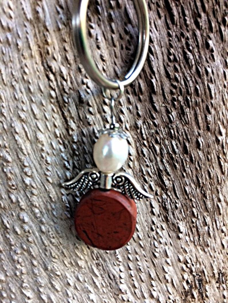 Talisman Guardian Angel Red Jasper Keychain Gift Idea Raw Stone  Breeding Pearl Pocket Pendant Charms