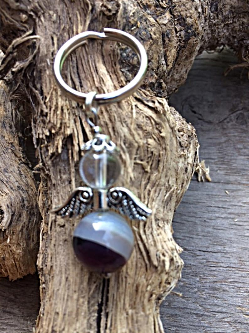 Talisman Charms Rock Crystal Agate Purple Transparent Keychain Gemstone Angel Purple Guardian Angel