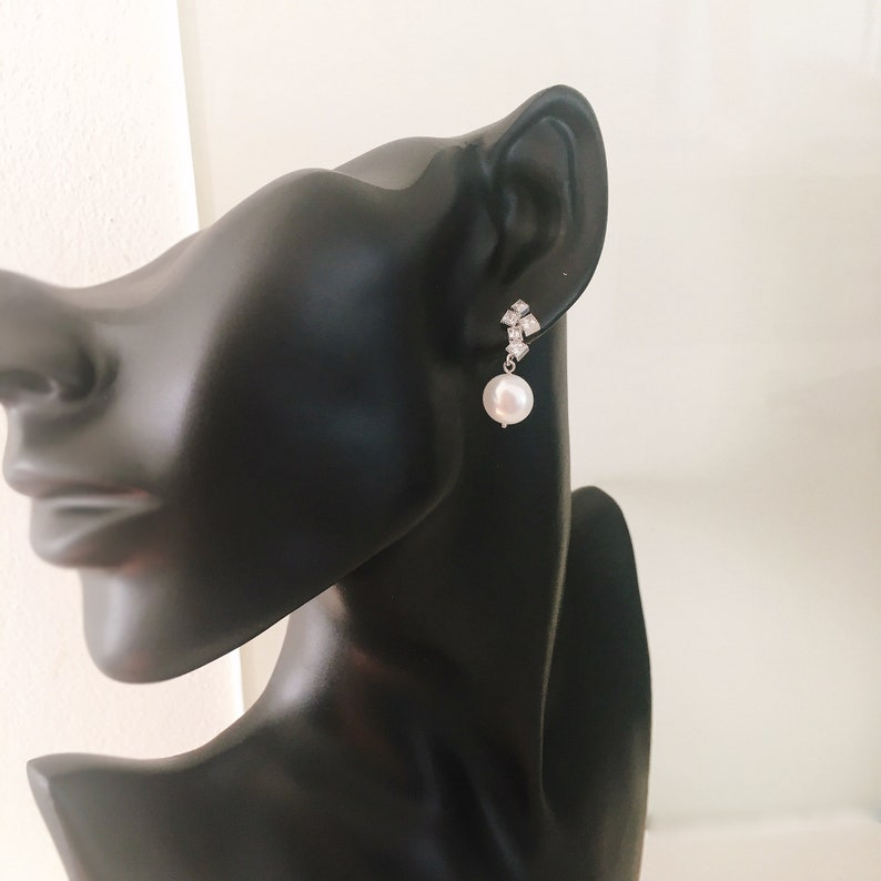 Coin pearl /& Crystal Earrings in Gold and Silver