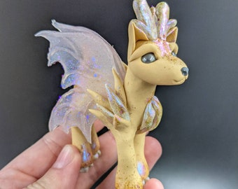 Polymer Clay Deer - Pearl the Fairy Fawn - Cute Fantasy Sculpture OOAK Hand Made Free Shipping