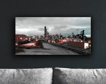Chicago Skyline, Canvas, Chicago, Gift, Home Decor, Chicago Art, Chicago Print, Photography, Black & white, wall art, Canal Street Skyline