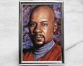 Benjamin Sisko Art Card Print From Deep Space Nine, Star Trek DS9 ACEO Portrait Painting Print
