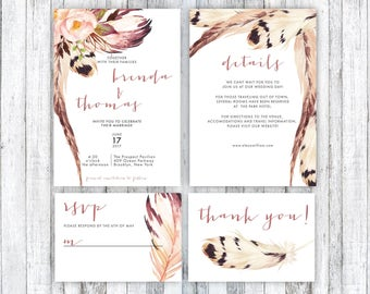 pink wedding invitation boho wedding invitation wedding invitation template feather wedding invitationwedding invitation printable set