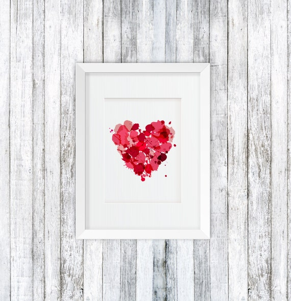 Herz-Wandkunst rosa Wanddekor Herz Poster druckbare | Etsy