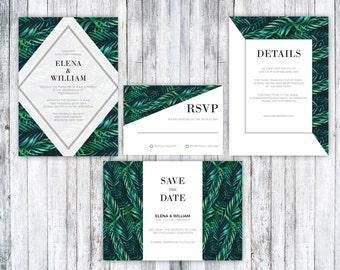 Wedding Invitation Template, Tropical Wedding Invitation, Printable Wedding Invitation Suite,Wedding Invitation PDF,Tropical Invitation PDF