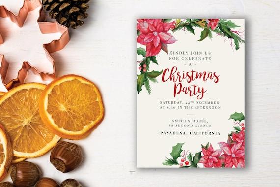 Christmas Party Einladung Vorlage bedruckbare Weihnachtsfeier | Etsy