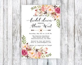 Bridal Shower Invitation, Bridal Shower Invite, Bridal Shower Printable, Floral Bridal Shower, Chic Bridal Shower, DIY Bridal Shower, PDF