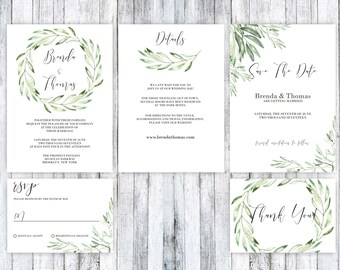 Wedding Invitation Template, Wedding Invitation printable, Green Wedding Invitation, Rustic wedding Invitation, Wedding Invitation suite,PDF