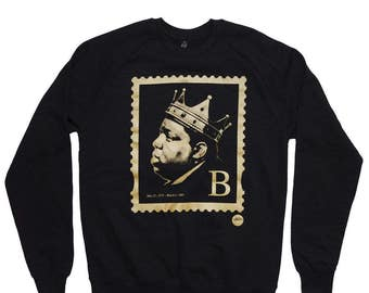 biggie smalls b stamp sweater