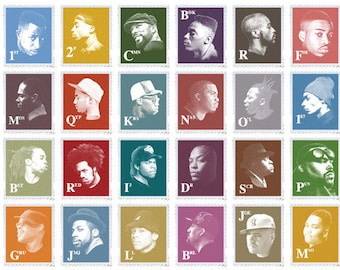 GoldenEra Hip-Hop Stamps A2 LithoPrint - Inspired by the Chuck D - Public Enemy Rap Lyrics