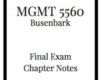 MGMT 5560 Final Exam Notes