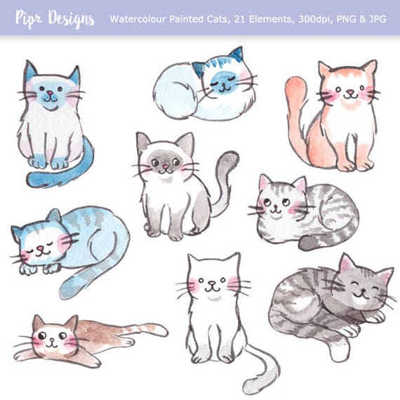 Watercolor Cats and Cute Kittens Clipart. 21 Hand-painted ...