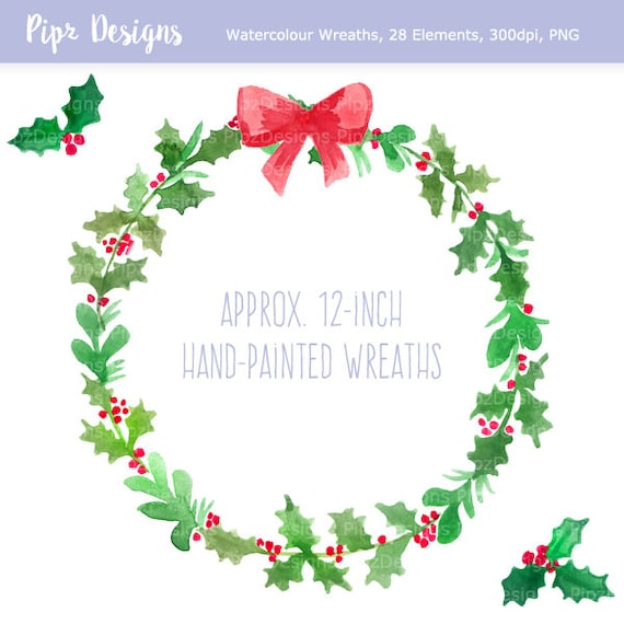 Christmas Wreath Clipart.Christmas Wreath Clipart Watercolor Christmas Clip Art Festive Holly Wreaths Bow Diy Or Commercial Use Png Instant Download