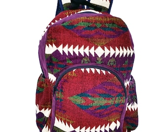 d51a909cff8d0 Unique Woven Patchwork Andean Backpack  Native American Backpack  Aztec