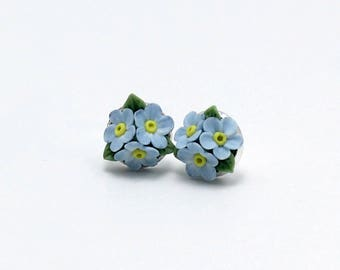 Earrings with Forget me not flowers- silver plated