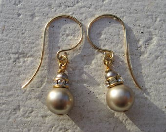 Swarovski platinum pearl drop earrings  for Her, with freshwater pearl. Hand Made.  22Kt gold hooks. (8mm pearl)